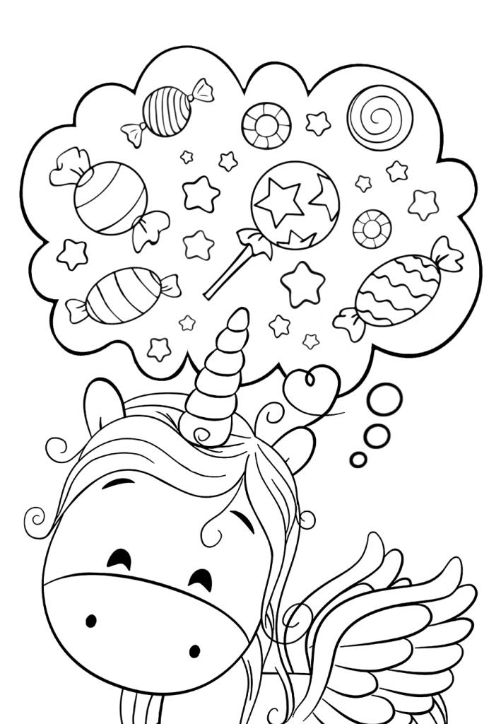 милый единорог конфетка милашки раскраски антистресс