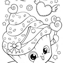 Раскраски для девочек «Милашки» кексик, чтобы бесплатно распечатать в хорошем качестве А4