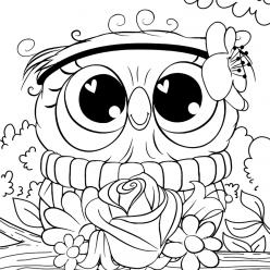 Раскраски для девочек «Милашки» Сова на ветке, чтобы бесплатно распечатать в хорошем качестве А4