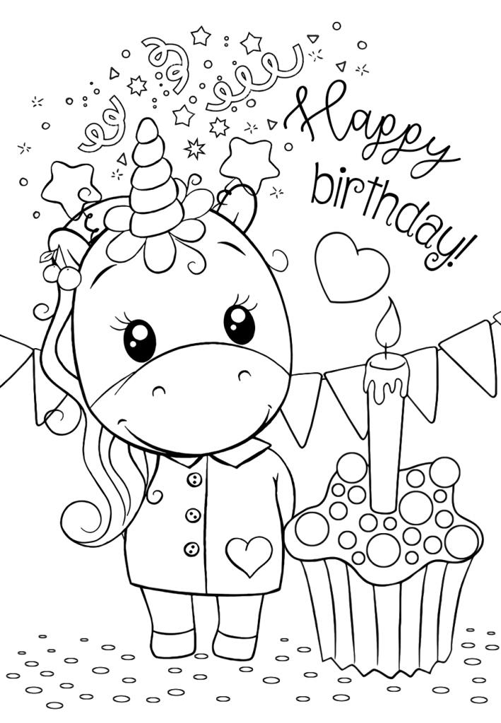 Раскраски для девочек «Милашки» Единорог С днем рождения, чтобы бесплатно распечатать в хорошем качестве А4