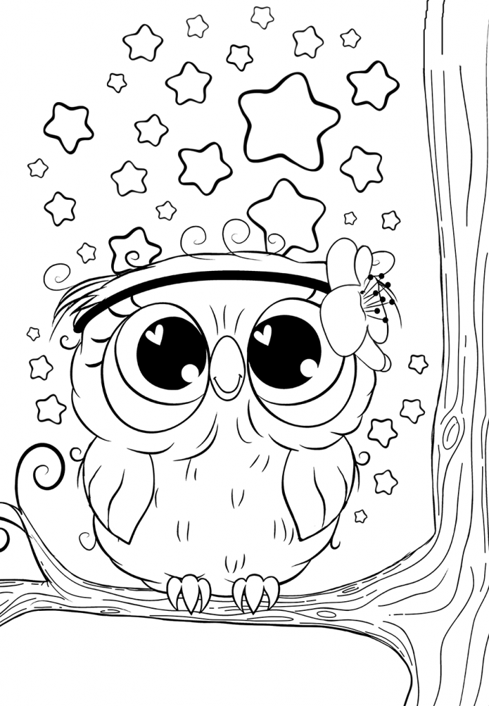 Раскраски для девочек «Милашки» Сова со звездами, чтобы бесплатно распечатать в хорошем качестве А4