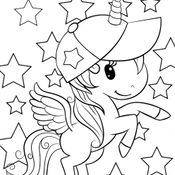 Раскраски для девочек «Милашки» Единорог с крыльями, чтобы бесплатно распечатать в хорошем качестве А4