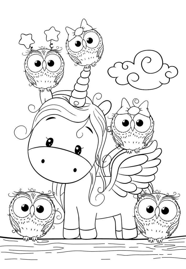 Раскраски для девочек «Милашки» Единорог с совушками, чтобы бесплатно распечатать в хорошем качестве А4