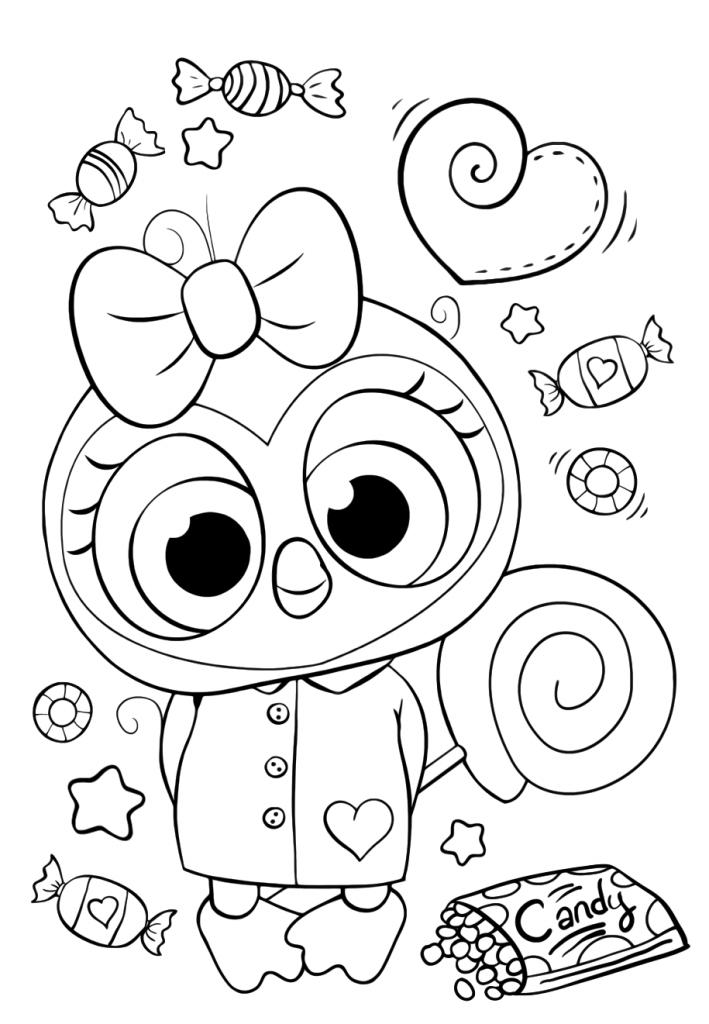 Раскраски для девочек «Милашки» Совушка с конфетами, чтобы бесплатно распечатать в хорошем качестве А4