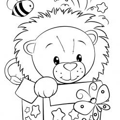 Раскраски для девочек «Милашки» Львенок, чтобы бесплатно распечатать в хорошем качестве А4