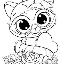 Раскраски для девочек «Милашки» зверек Енот с бантиком, чтобы бесплатно распечатать в хорошем качестве А4