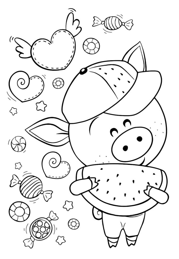 Раскраски для девочек «Милашки» Свинка с вкусняшками, чтобы бесплатно распечатать в хорошем качестве А4