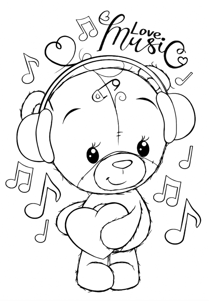 Раскраски для девочек «Милашки» Мишка Тедди любит музыку, чтобы бесплатно распечатать в хорошем качестве А4