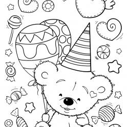 Раскраски для девочек «Милашки» Мишка с праздником, чтобы бесплатно распечатать в хорошем качестве А4