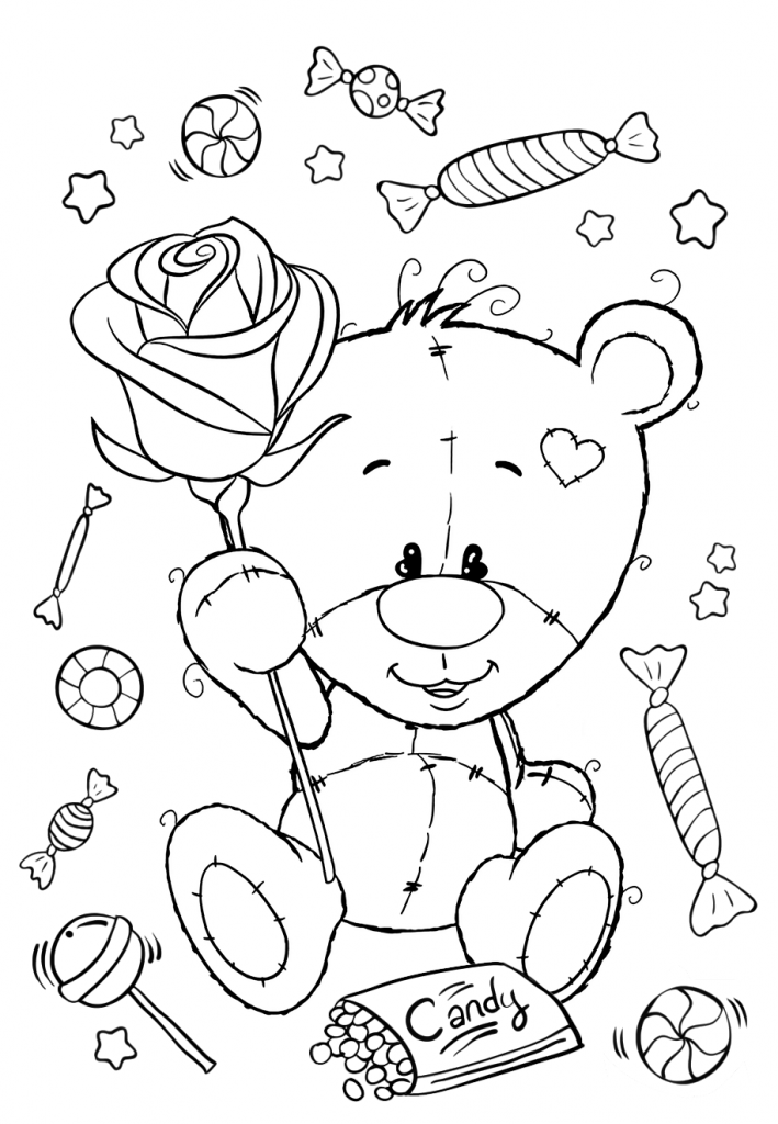 Раскраски для девочек «Милашки» Мишка Тедди с розой, чтобы бесплатно распечатать в хорошем качестве А4
