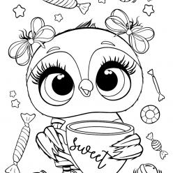 Раскраски для девочек «Милашки» Милая сова со сладостями, чтобы бесплатно распечатать в хорошем качестве А4