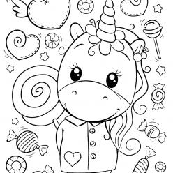 Раскраски для девочек «Милашки» Единорог и много сладостей, чтобы бесплатно распечатать в хорошем качестве А4