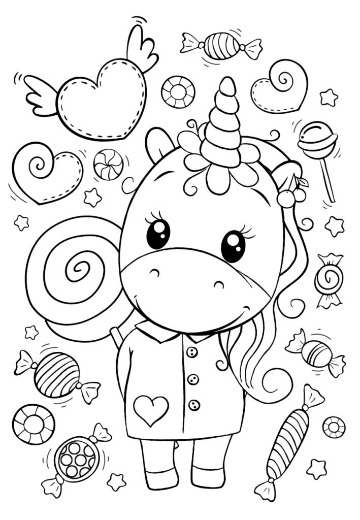 Единорог и много сладостей - Милашки - Раскраски антистресс