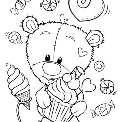 Раскраски для девочек «Милашки» Мишка Тедди со сладостями, чтобы бесплатно распечатать в хорошем качестве А4
