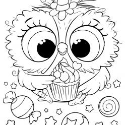 Раскраски для девочек «Милашки» Сова единорог, чтобы бесплатно распечатать в хорошем качестве А4