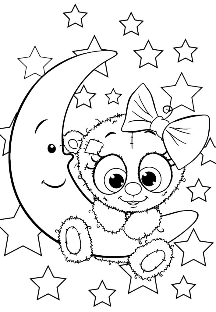 Раскраски для девочек «Милашки» Девочка мишка Тедди, чтобы бесплатно распечатать в хорошем качестве А4