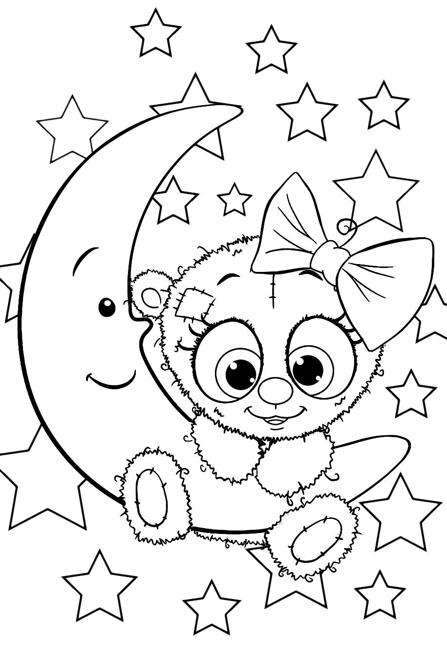 Девочка мишка Тедди - Милашки - Раскраски антистресс