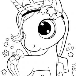 Раскраски для девочек «Милашки» Единорог со звездами, чтобы бесплатно распечатать в хорошем качестве А4