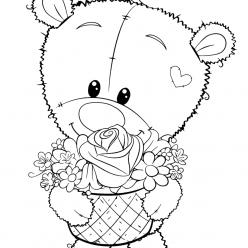 Раскраска для девочек «Милашки» Мишка Тедди, чтобы распечатать