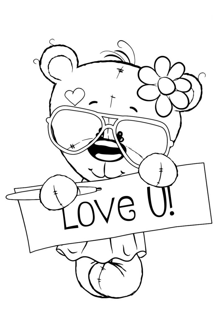 Раскраска для девочек «Милашки» с любовью, чтобы распечатать