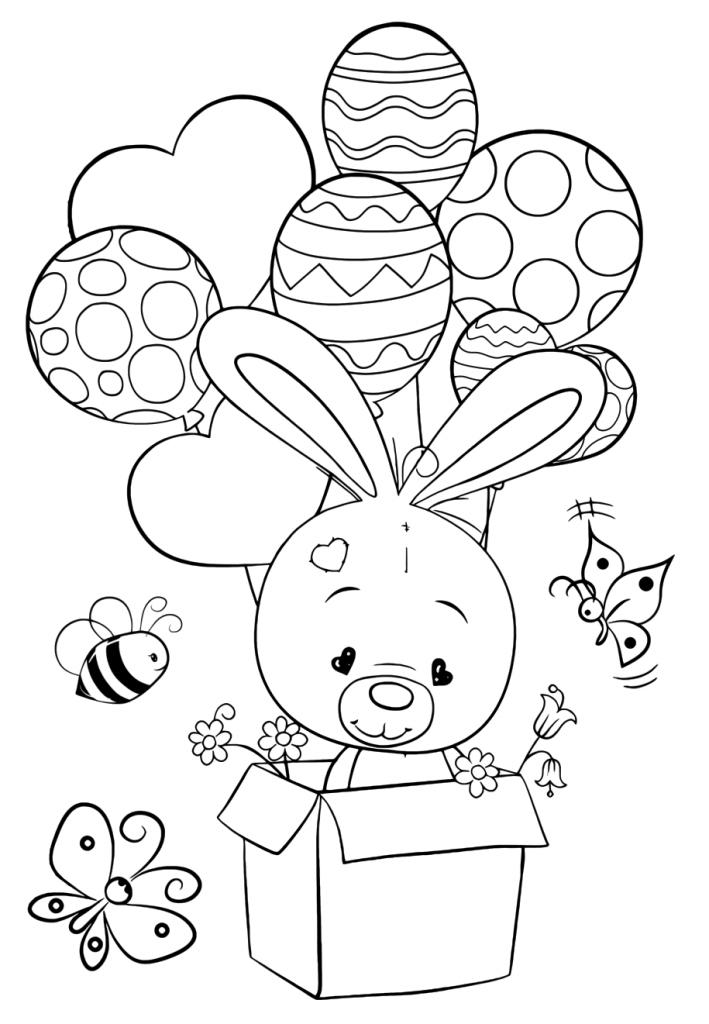 Раскраска для девочек «Милашки» Зайчик с воздушными шарами, чтобы распечатать