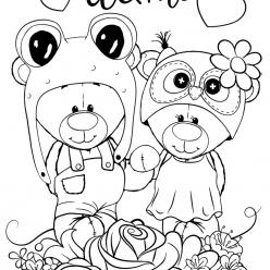 Раскраска для девочек «Милашки» Мишки Тедди, чтобы распечатать