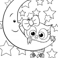 Раскраска для девочек Сова на луне, чтобы распечатать