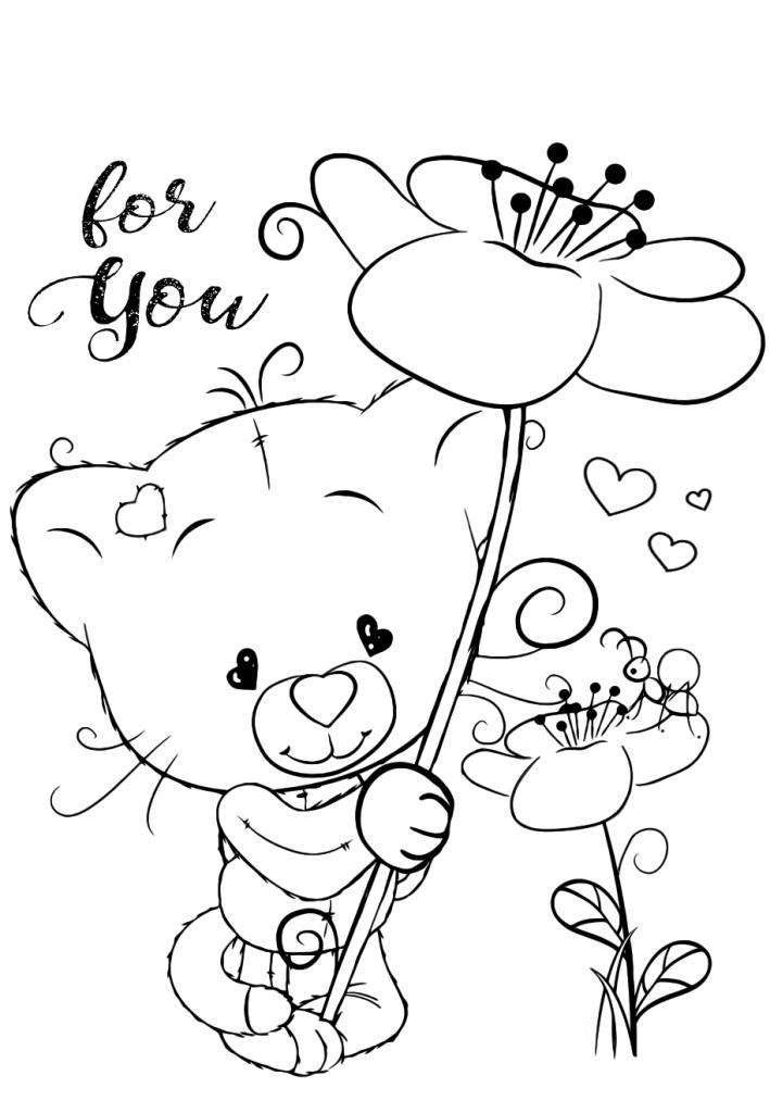 Раскраски для девочек «Милашки» Котик, чтобы бесплатно распечатать в хорошем качестве А4