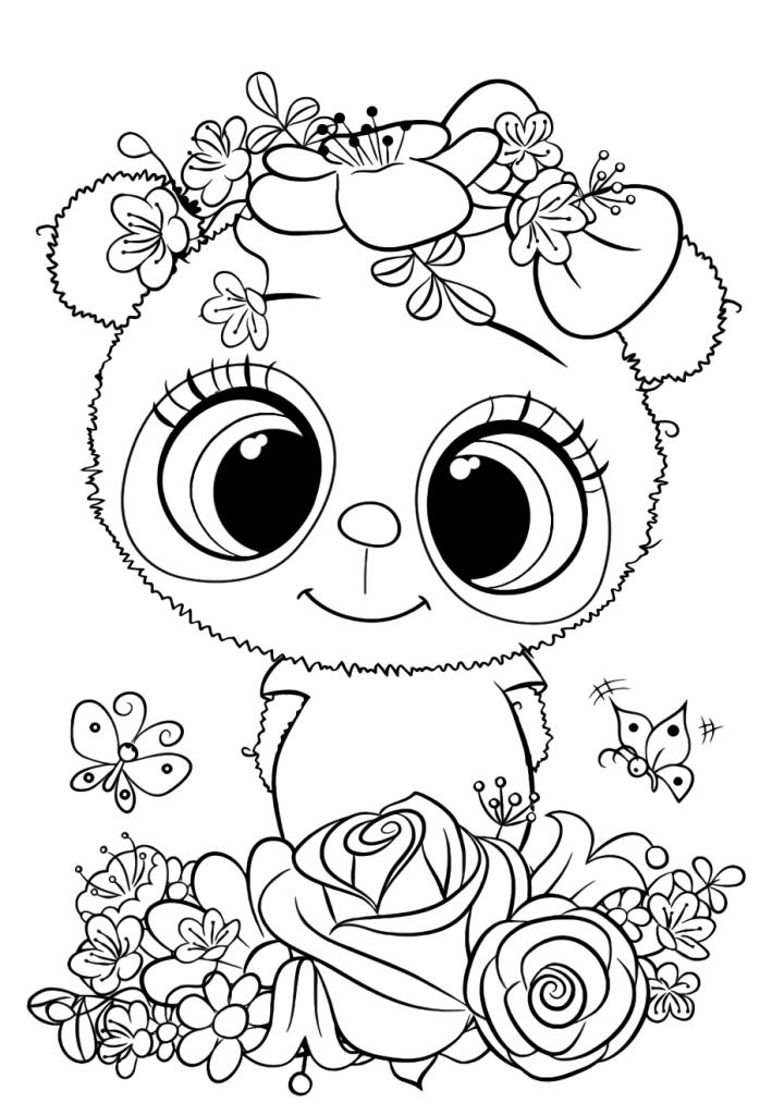 Раскраска для девочек «Милашки» Панда, чтобы распечатать
