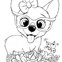 Раскраска для девочек «Милашки» Милая собачка, чтобы распечатать