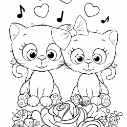 Раскраска для девочек «Милашки» Парочка котиков, чтобы распечатать
