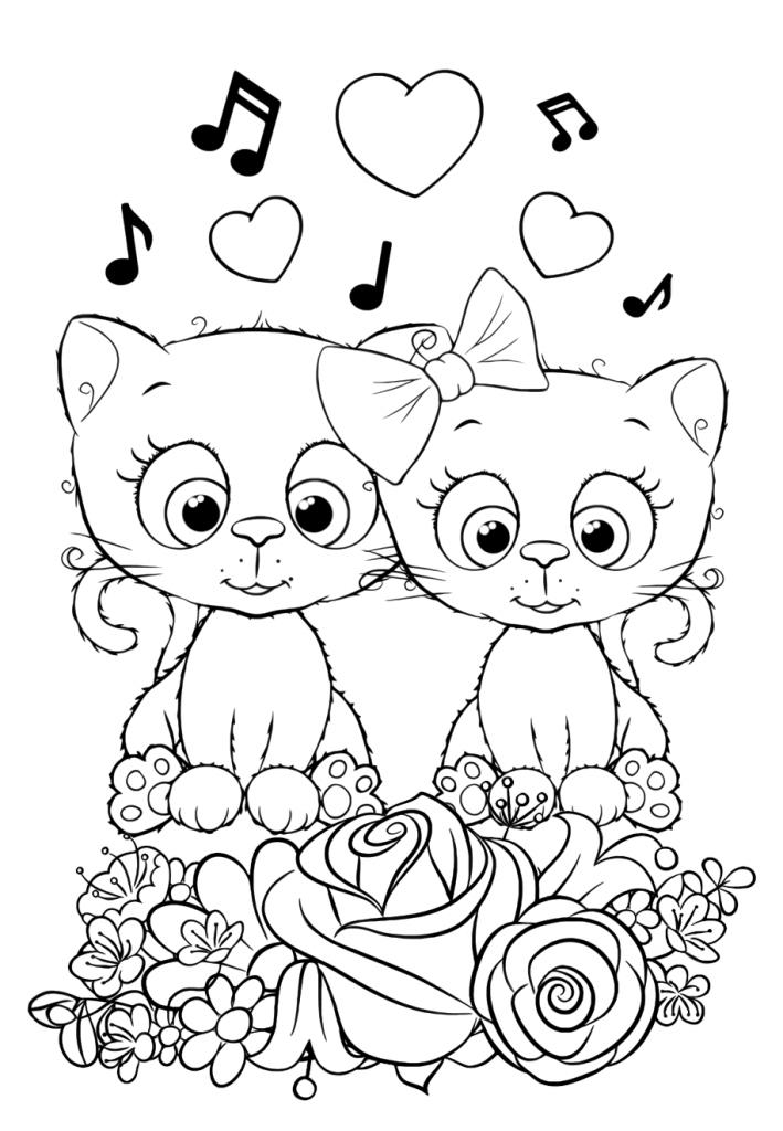 Влюбленные коты - Милашки - Раскраски антистресс