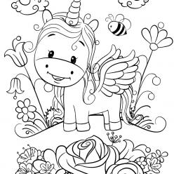 Раскраска для девочек «Милашки» Малыш единорог, чтобы распечатать
