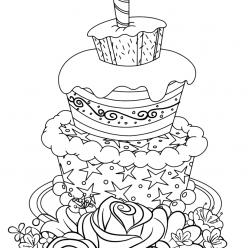Раскраска для девочек «Милашки» Торт для детей, чтобы распечатать