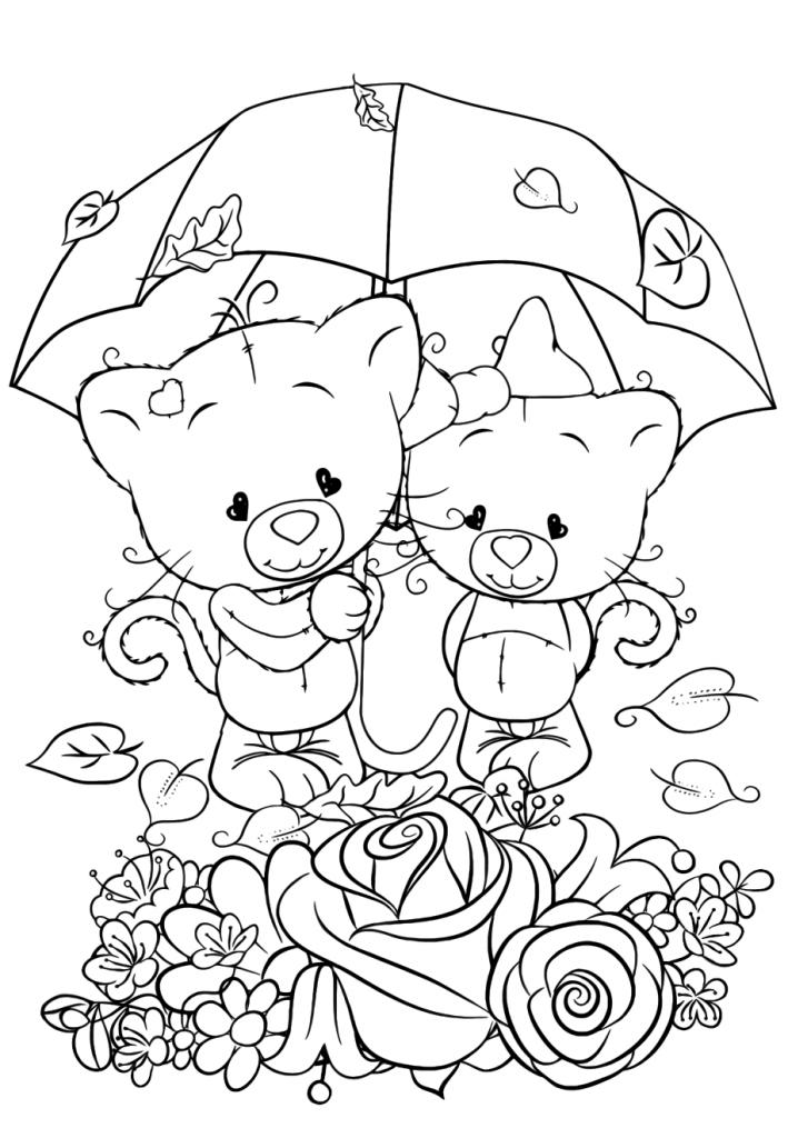 Раскраска для девочек «Милашки» Влюбленная пара, чтобы распечатать