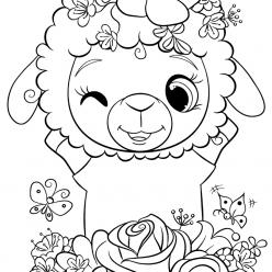 Раскраска для девочек «Милашки» Овечка, чтобы распечатать
