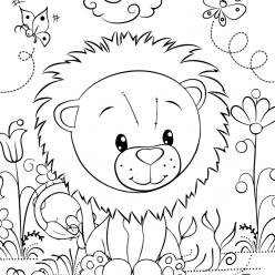 Раскраски для девочек «Милашки» Лев, чтобы бесплатно распечатать в хорошем качестве А4