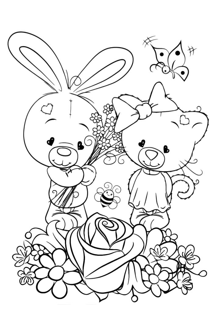 Раскраска для девочек «Милашки» любовь, чтобы распечатать