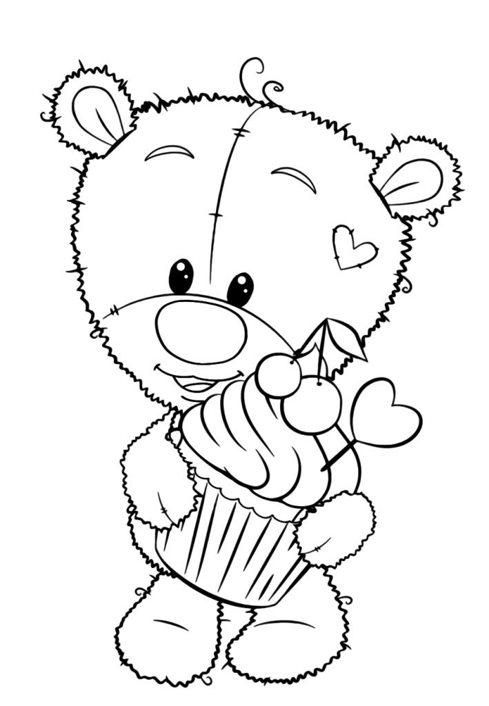 медвежонок тедди милашки раскраски антистресс