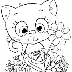 Раскраска для детей котенок, чтобы распечатать