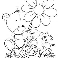 Раскраска для детей Медведь Тедди, чтобы распечатать