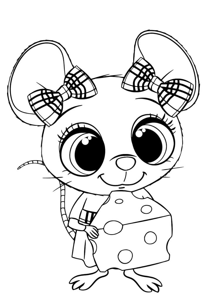 Раскраска для детей Мышка с сыром, чтобы распечатать