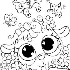 Раскраски для девочек «Милашки» Овечка в ромашках, чтобы бесплатно распечатать в хорошем качестве А4