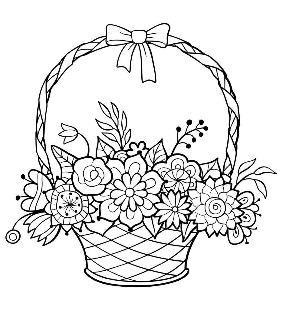 Раскраска Корзина с цветами, чтобы распечатать