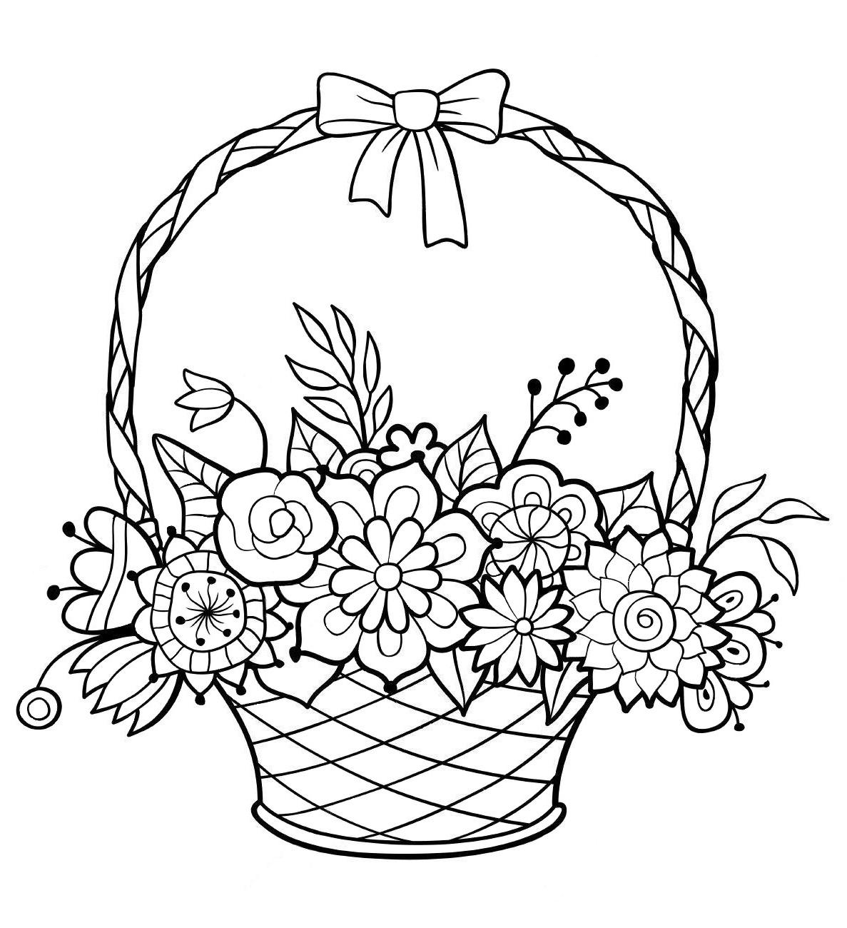 Картинки корзинки с цветами нарисованные