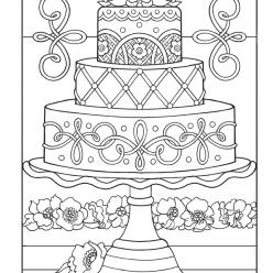 Раскраски антистресс Сладости «Большой торт», чтобы распечатать
