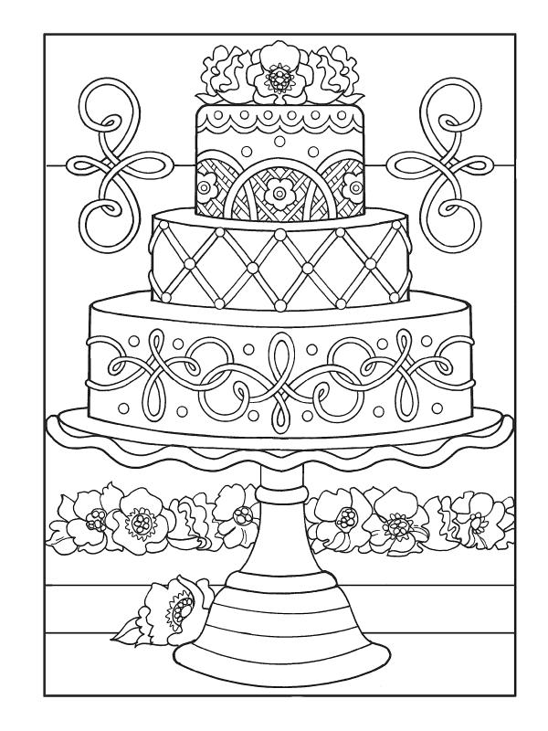 Большой торт - Сладости - Раскраски антистресс