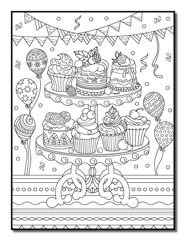 Раскраски антистресс Сладости «Сладости на день рождения», чтобы распечатать