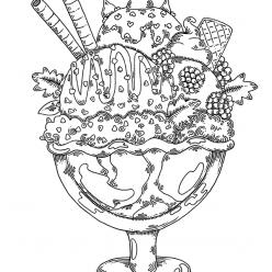 Раскраски антистресс Сладости «Мороженое с украшением», чтобы распечатать