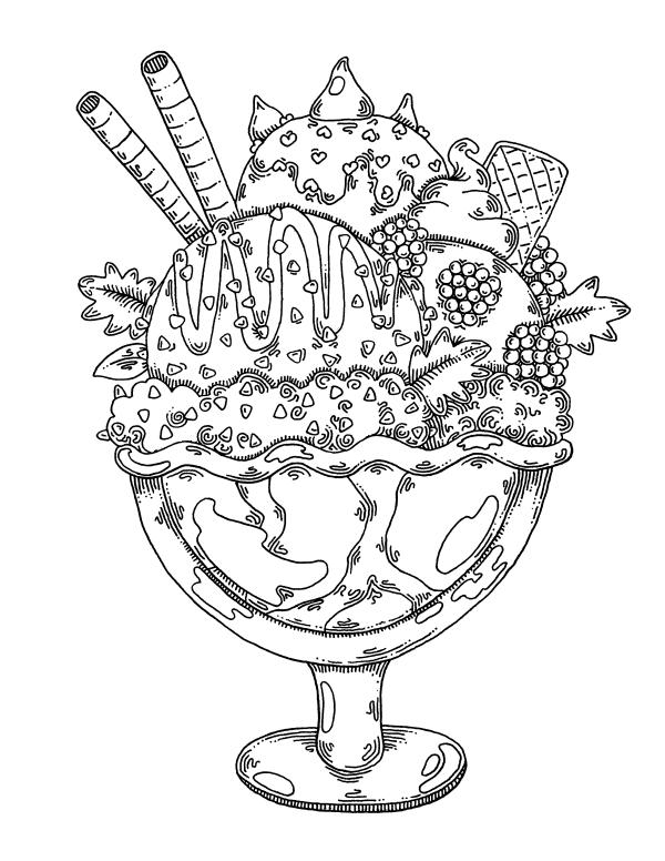 Мороженое с украшением - Сладости - Раскраски антистресс